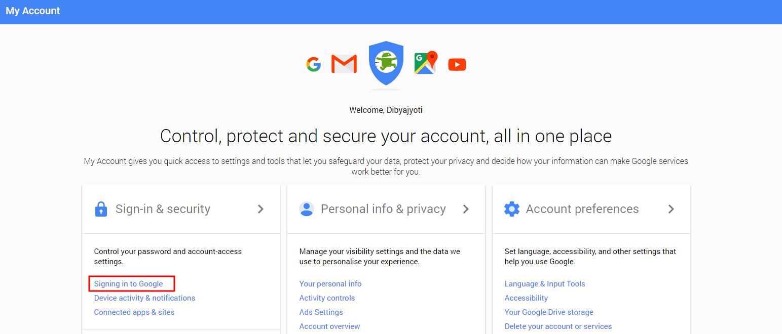 2-Step Verification My google account login