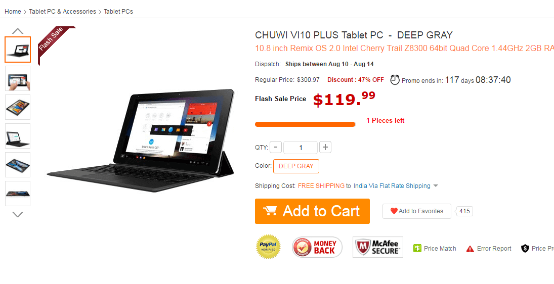 CHUWI VI10 PLUS Tablet PC 159.99 and Free Shipping GearBest.com Flash Sale