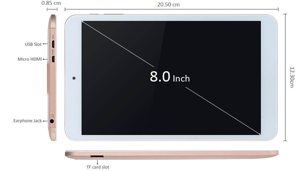 Screen size of Onda V80 Plus