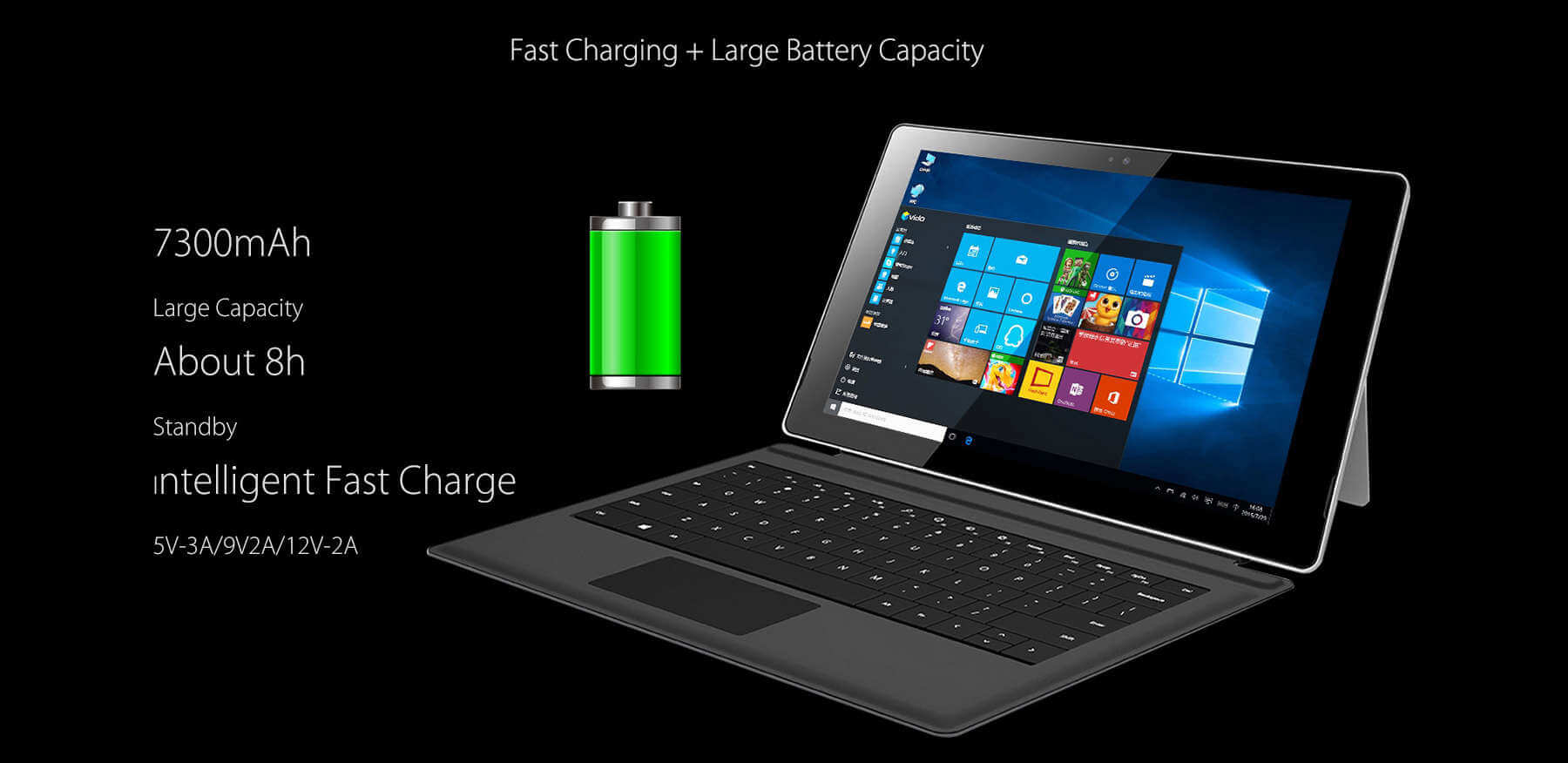 Vido W10 Elite Version Tablet PC-Battery Backup