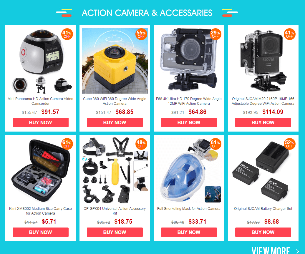 Action camera and Accessories at Consumer Electronic Sale Gearbest