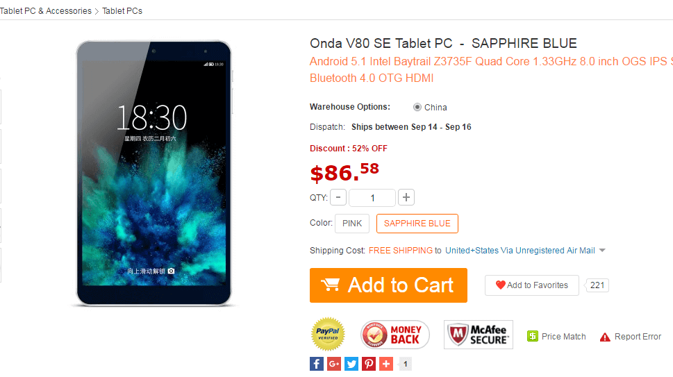 Onda V80 SE Tablet PC Gearbest Deals