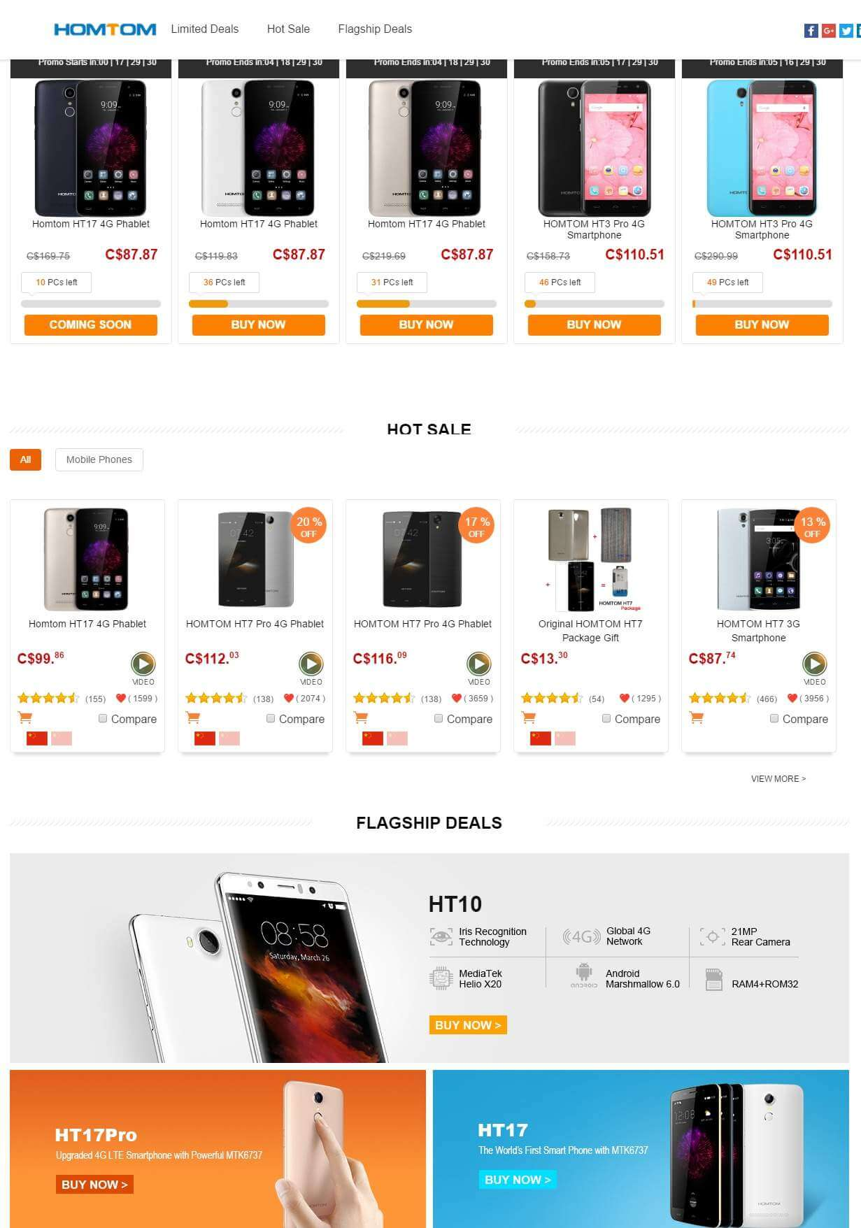 Product Lists- Homtom Brand Store Promotional Sale