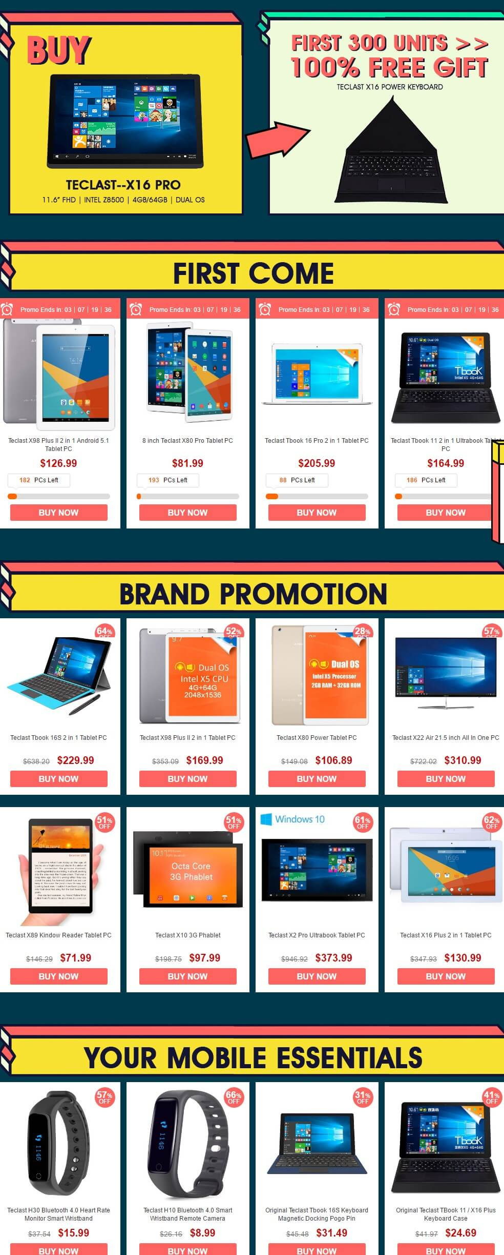 Teclast Carnival Promotional Sale -All listed Products