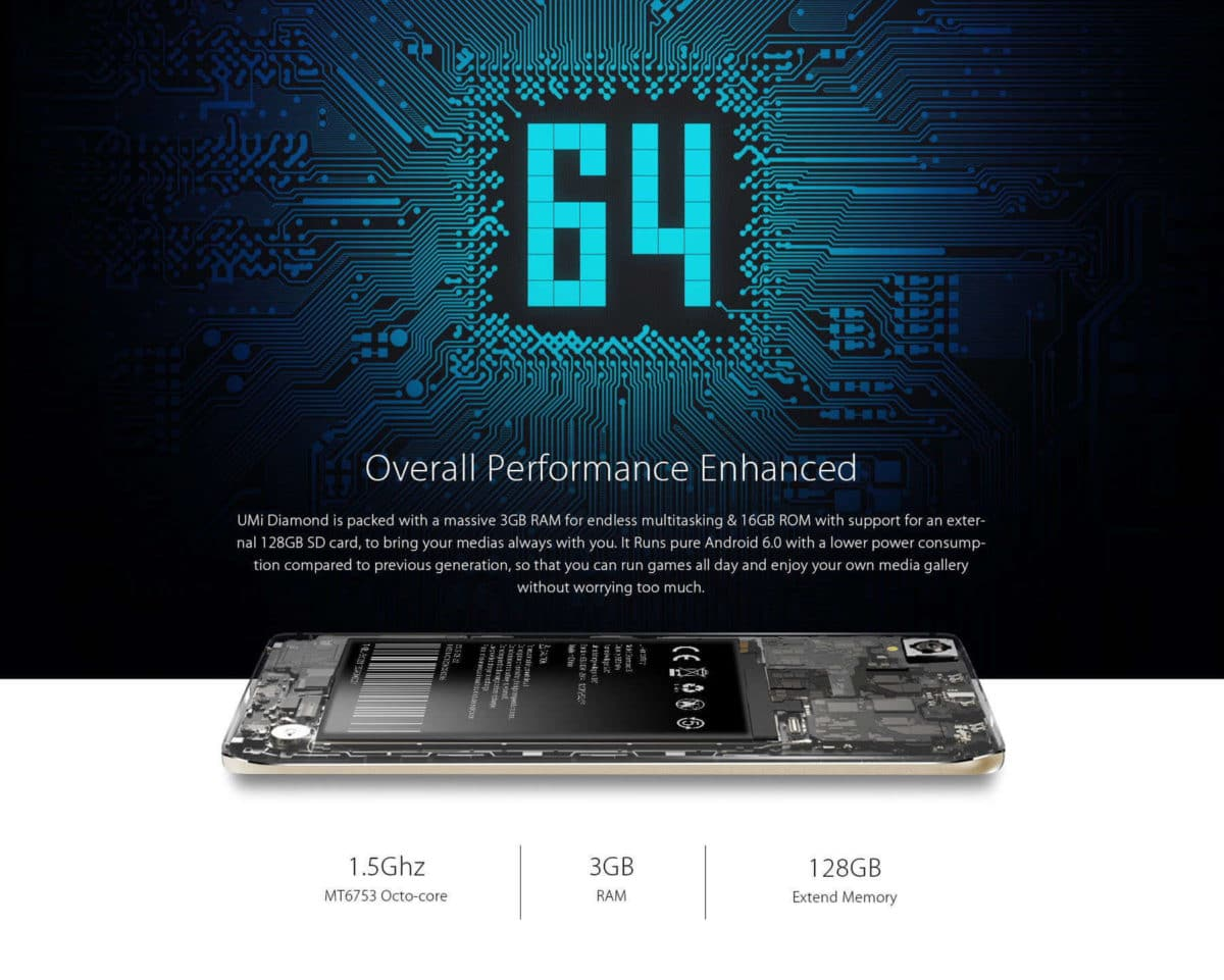 UMi Diamond 4G Smartphone CPU and RAM