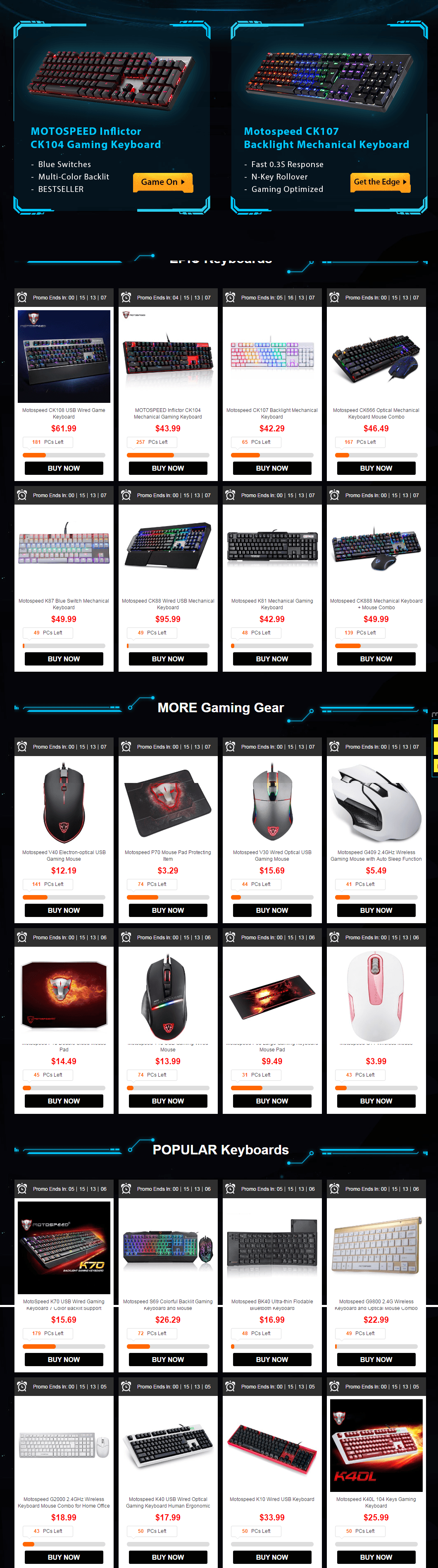 Products List-Gearbest's High Performance Gaming Gears Flash Sale