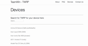TWRP Website- Devices