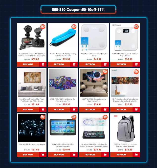 Category 3: Gearbest 11.11 sale offers Coupons up to $45 off
