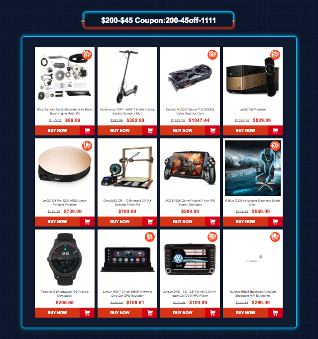 Category 7: Gearbest 11.11 sale offers Coupons up to $45 off