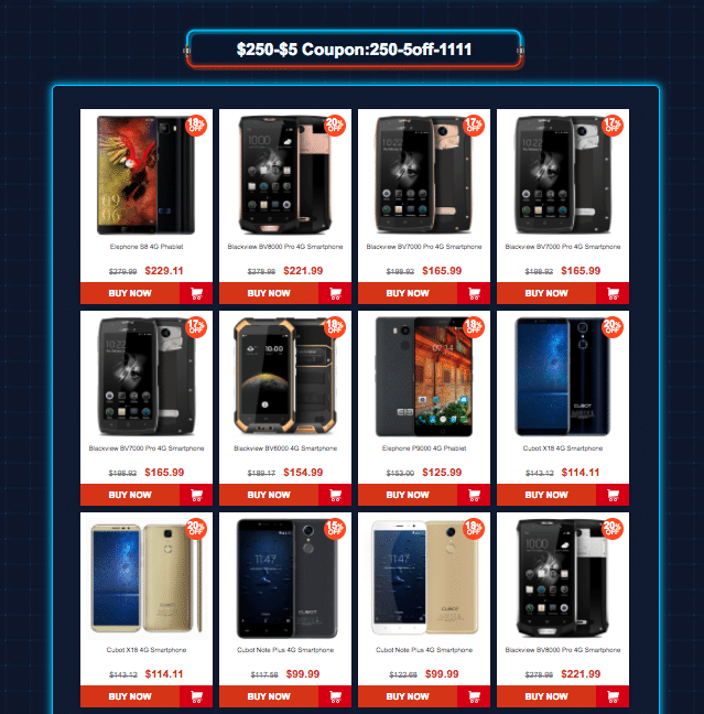 Category 8: Gearbest 11.11 sale offers Coupons up to $45 off