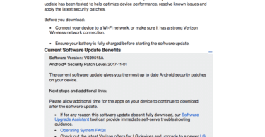 Verizon LG V20 VS99518A November 2017 Security Patch Update