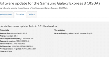 AT&T Galaxy Express 3 J120AUCS4AQJ2/KRACK Fix/October 2017 OTA Security Patch