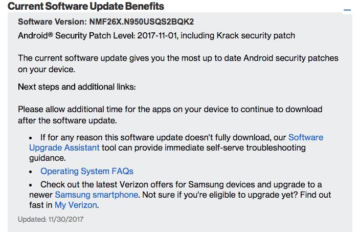 Verizon Galaxy Note 8 N950USQS2BQK2/KRACK Fix/November 2017 OTA Security Patch