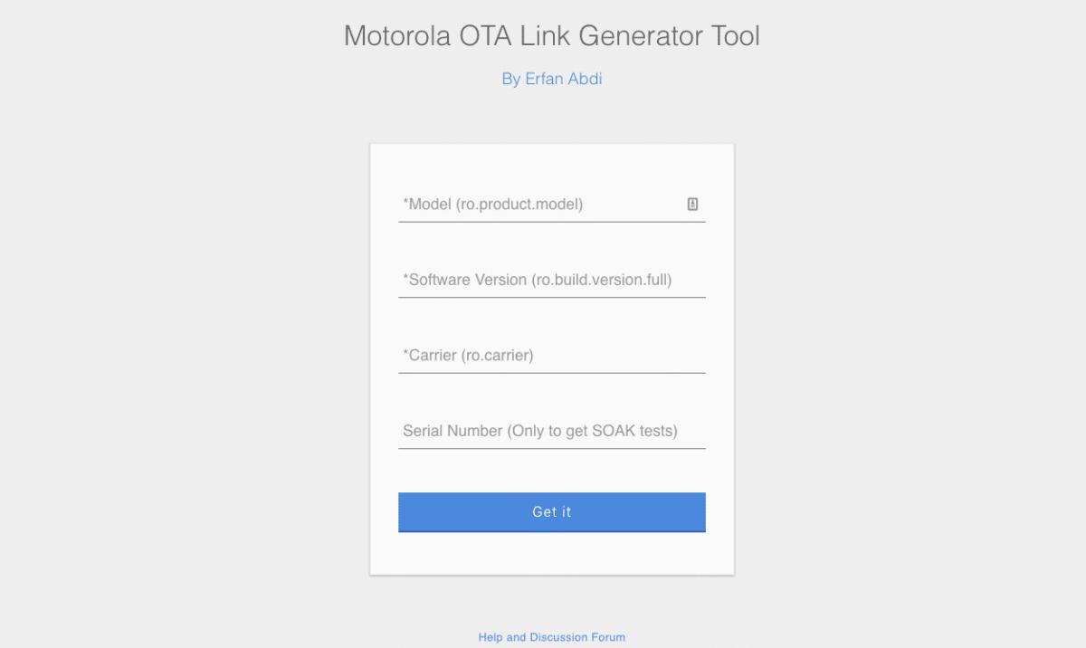 Online site of Motorola OTA Link Generator Tool