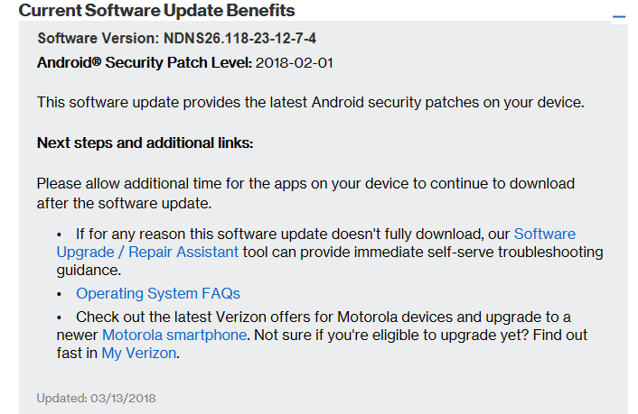 Verizon Moto Z Play Droid NDNS26.118-23-12-7-4 February 2018 Security Patch