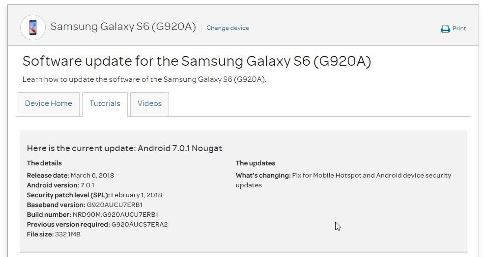 AT&T Galaxy S6 G920AUCS7ERA2 February 2018 Security Update (OTA Patch)