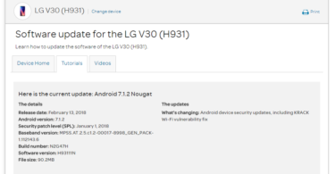 AT&T LG V30 H93111N January 2018 Security Patch (OTA Update)