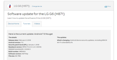 AT&T LG G6 H87110p January 2018 Security Patch (OTA Update)