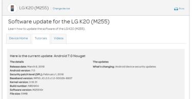 AT&T LG K20 M25510r February 2018 Security Patch (OTA Update)