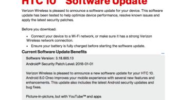 Verizon HTC 10 3.18.605.13 Android 8.0Oreo OTA Update (US)