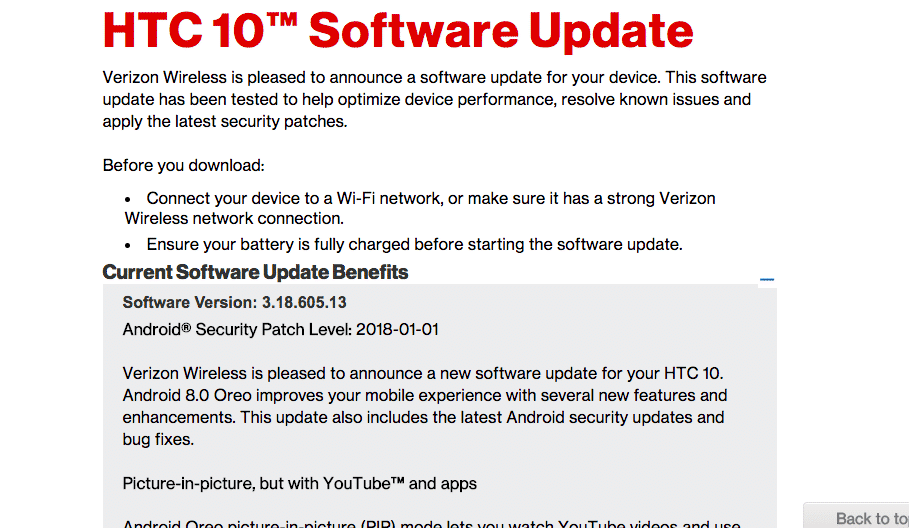 Verizon HTC 10 3.18.605.13 Android 8.0 Oreo OTA Update (US)