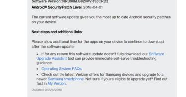 Verizon Galaxy S6 Edge Plus G928VVRS3CRD2 April 2018 Security Patch