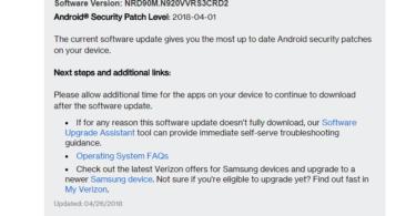 DownloadVerizon Galaxy Note 5 N920VVRS3CRD2 April 2018 Security Update
