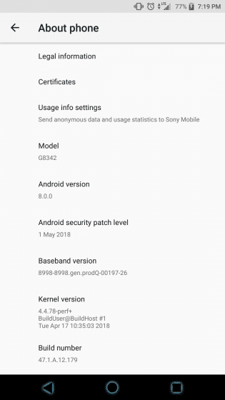 May 2018 Security Update 47.1.A.12.179 For Xperia XZ1, XZ1 Compact and XZ Premium