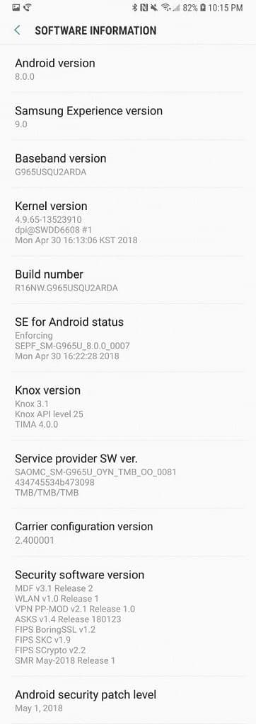 DownloadGalaxy S9 and S9 Plus G960USQU2ARDA and G965USQU2ARDA May 2018 Security Update