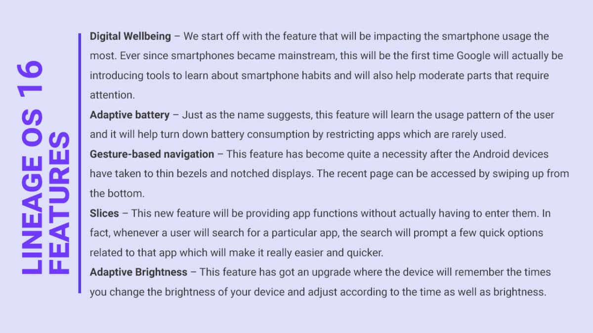 Lineage OS 16 Features