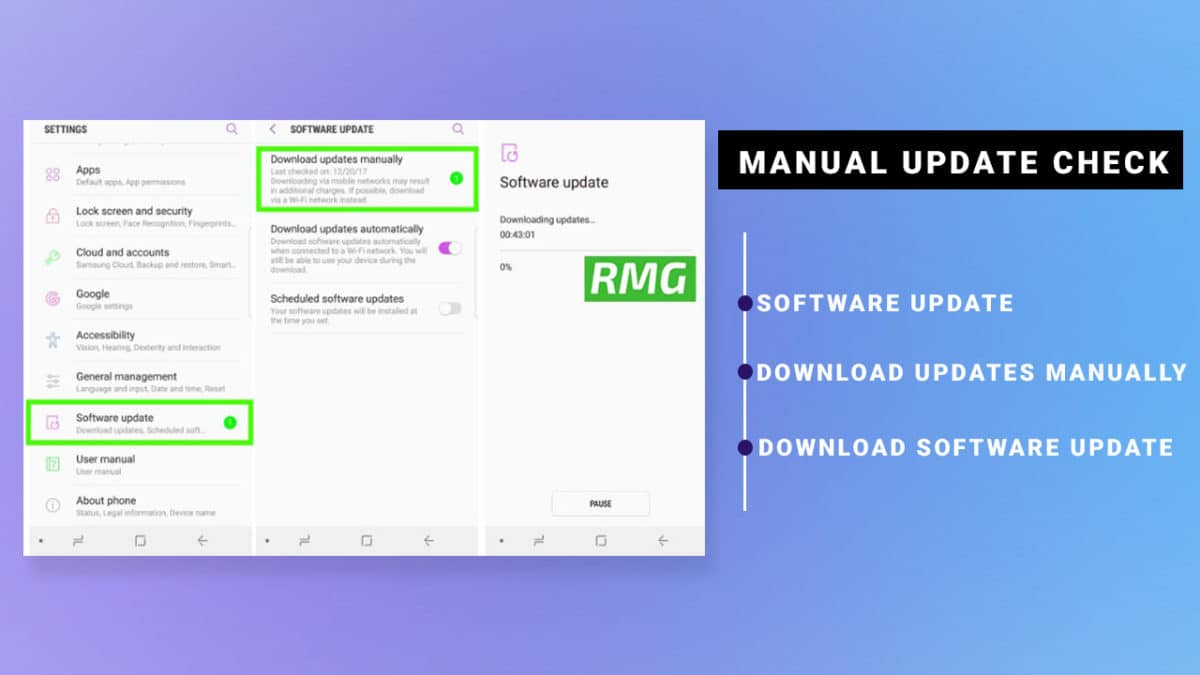 Check Manual software update Samsung