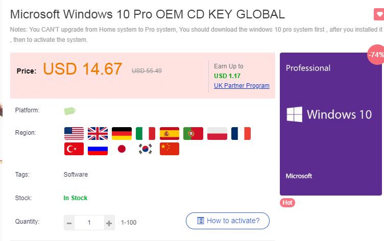 URcdkey summer sale:window 10 pro $11,74,and win10 Pro+office 2016 Pro just $33.43