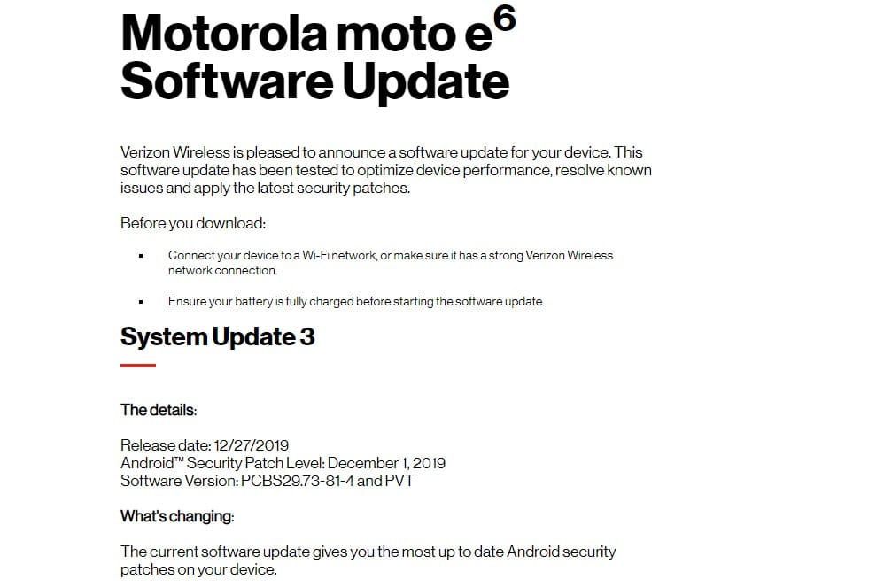 Verizon Moto E6 Gets December 2019 Patch Update
