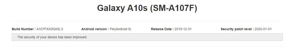 Galaxy A10s A107FXXS5ASL3 January 2020 update