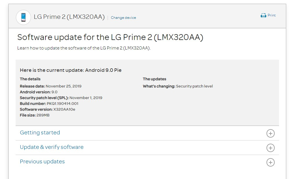 AT&T LG Prime 2's X320AA10e November 2019 patch update is now live