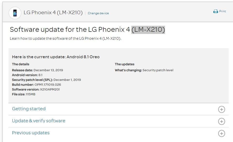 AT&T LG Phoenix 4 grabs X210APM20l December 2019 patch