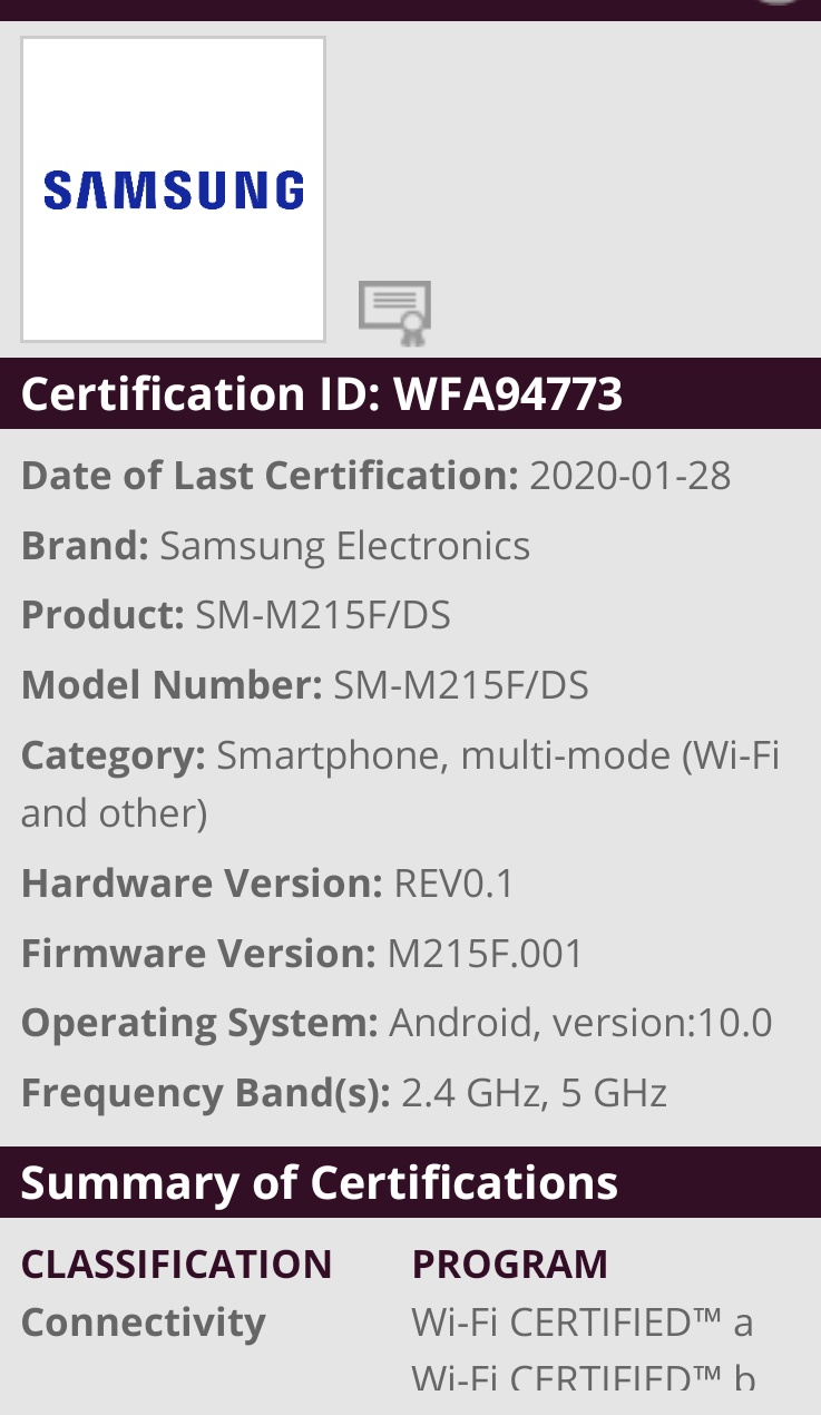 Samsung Galaxy M21 Spotted on Wifi certification with Android 10
