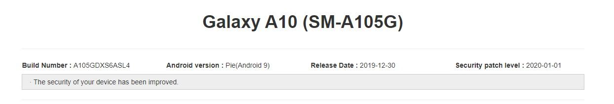 Galaxy A10 A105GDXSASL4 January 2020 update
