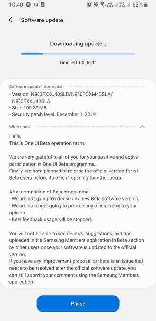 Galaxy Note 9 N960FXXU4DSLB Android 10 Stable Update with One UI 2.0