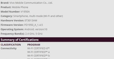 Vivo V1950A which is rumored to be Vivo NEX 3 5G gets Wi-Fi certification