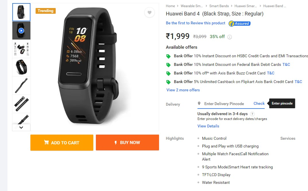Huawei Band 4 is now available on Flipkart