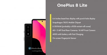 New Render of OnePlus 8 Lite reveals specs, Snapdragon 765G, Dual Rear Camera and more