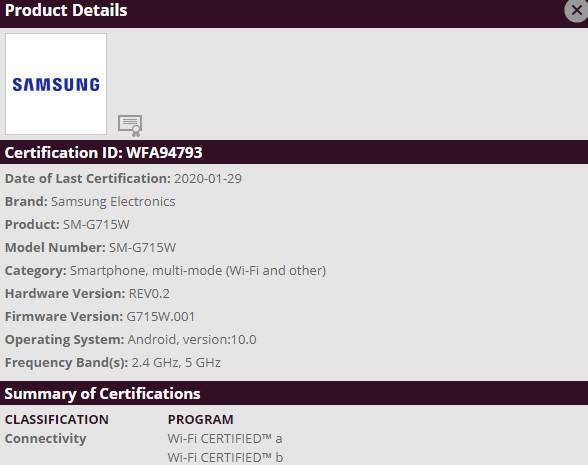 Samsung SM-G715W Certified by Wi-Fi Alliance