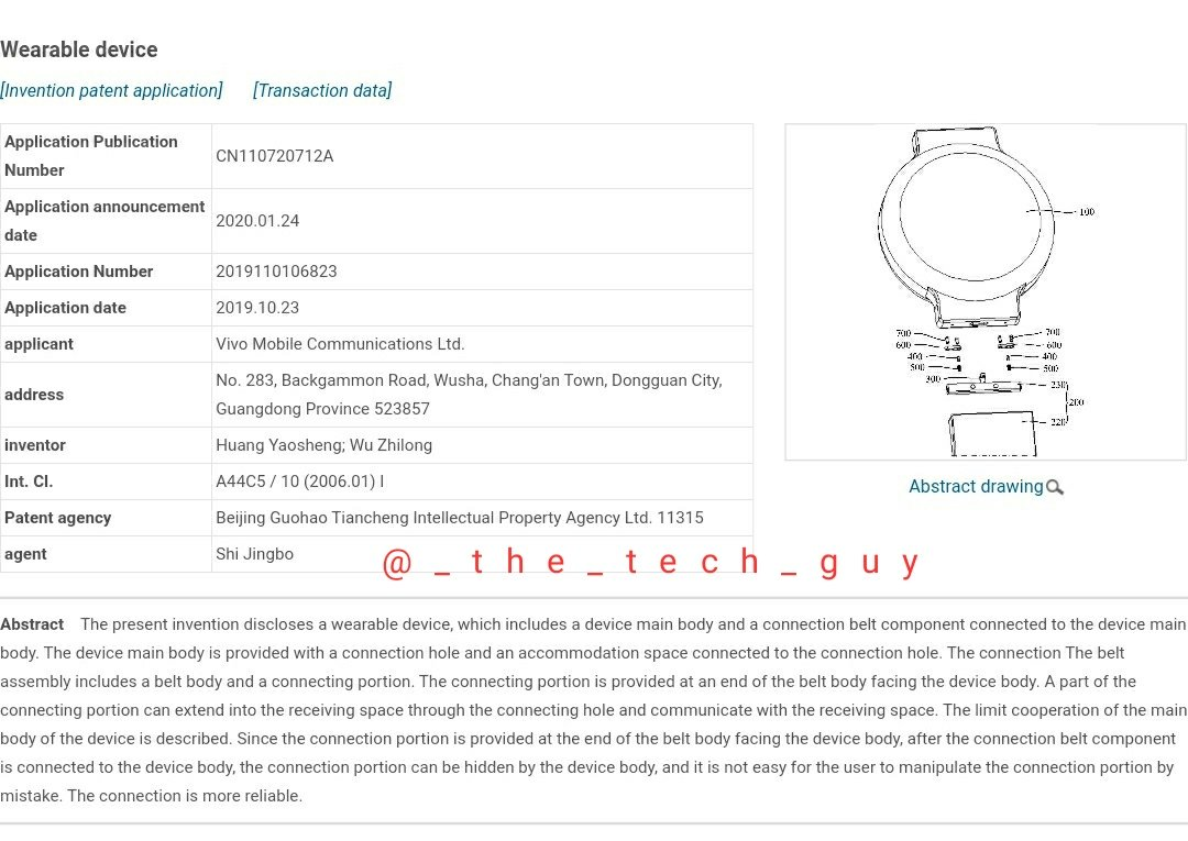 Patent Application Applied for the Upcoming Vivo Smartwatch