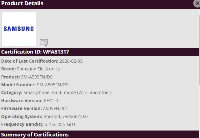 Galaxy A70, Galaxy A50 and A50s running Android 10 spotted on Wi-Fi Alliance