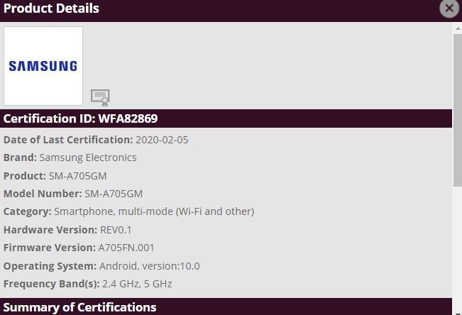 Galaxy A70-Android 10_Wi-Fi Alliance