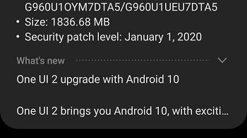AT&T Galaxy S9 and Galaxy received Android 10 (One UI 2.0) update