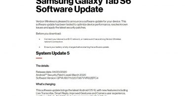 Verizon rolls out Samsung Galaxy Tab S6 Android 10 (One UI 2.0)