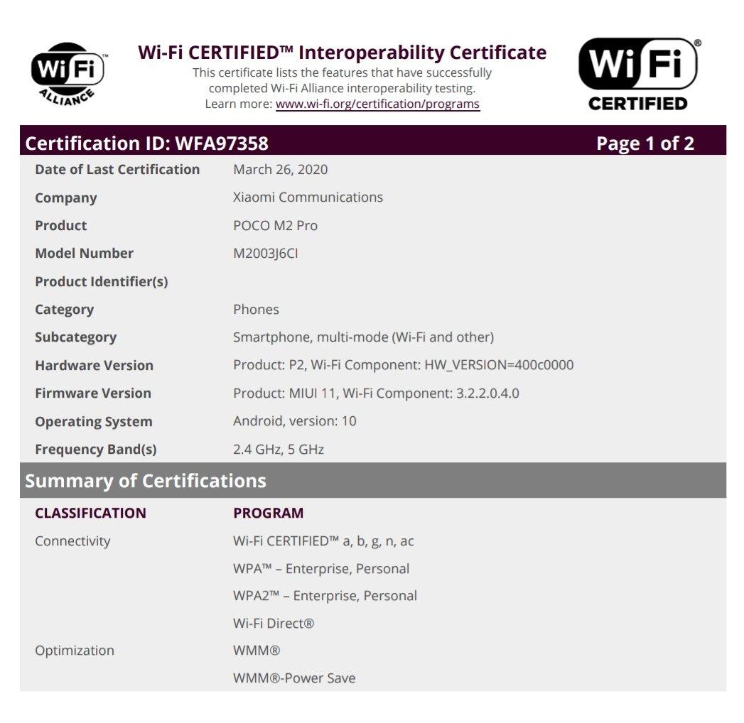 POCO M2 Pro (M2003J6CI)-WiFi Certification
