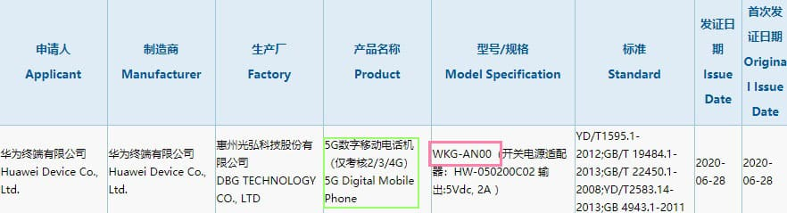 Budget Huawei 5G Phone with model number WKG-AN00 passes through 3C Certification